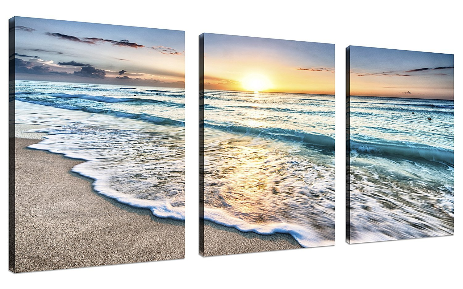 CUFUN Art 3 Panels The Colorful Stones under Sunset Landscape Canvas Prints Wall Art for Home Decorations Stretched Framed Ready to Hang