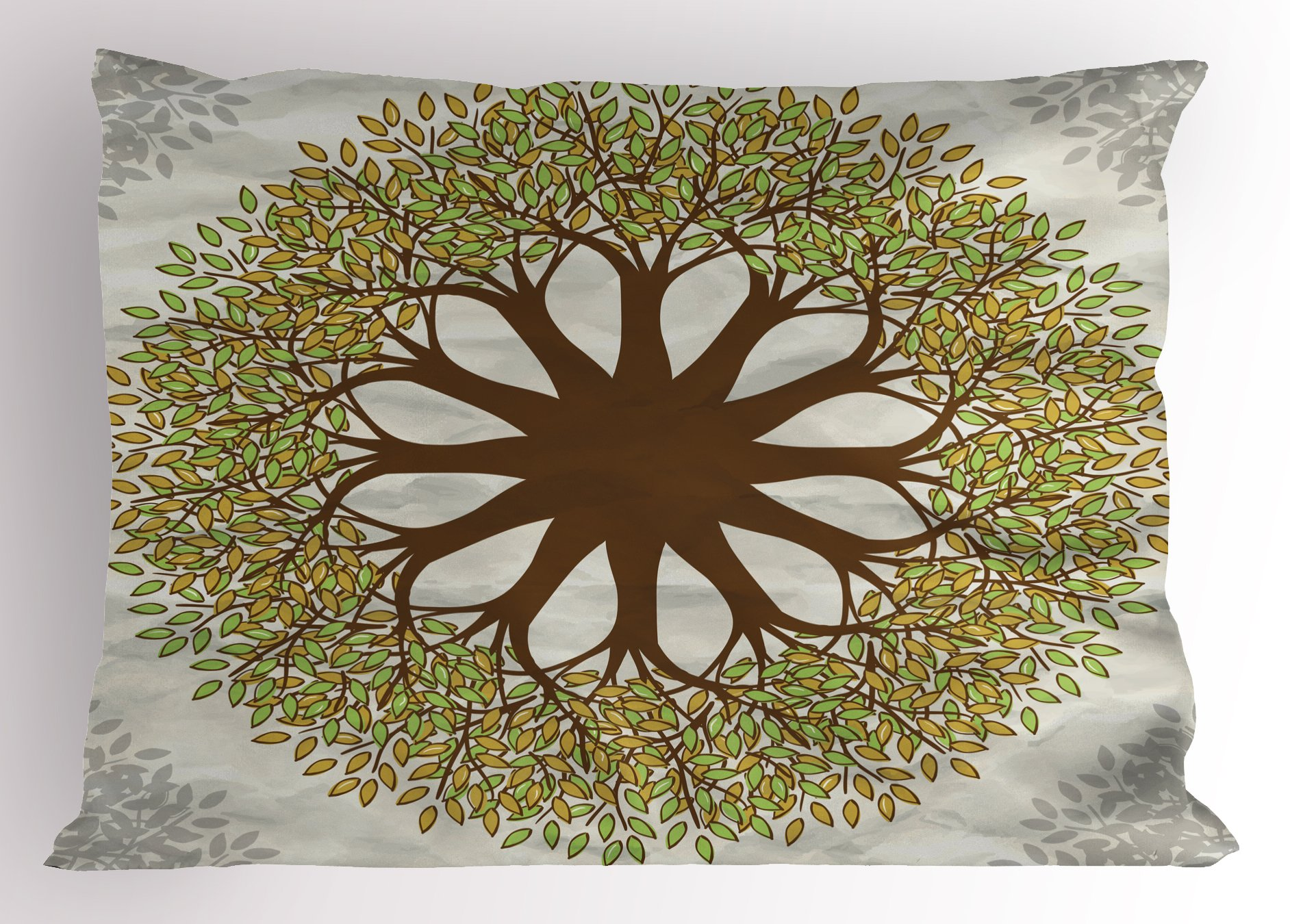 Lunarable Tree of Life Pillow Sham, Indian Mandala Design with Leaves and Woods Round Shape Eastern Cultural Art, Decorative Standard King Size Printed Pillowcase, 36 X 20 inches, Green Brown by Lunarable (Image #1)