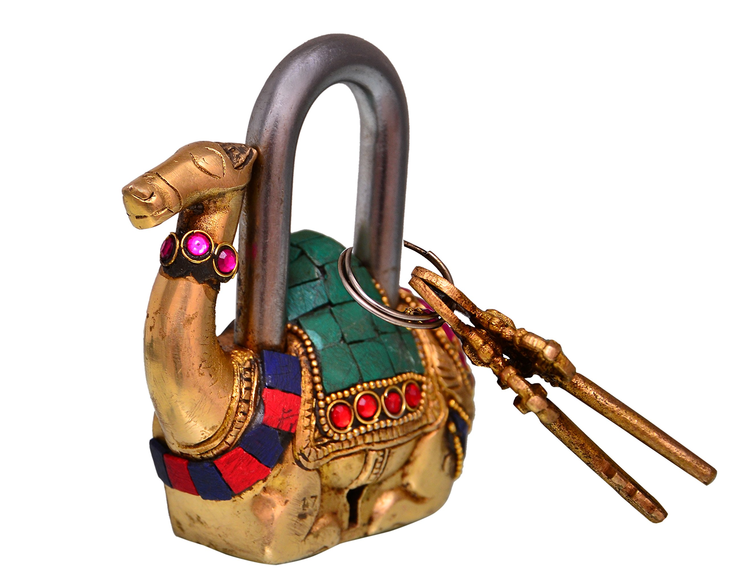 Purpledip Camel Shaped Brass Lock Padlock: Handmade Antique Design With Colorful Gemstone Work; Unique Collectible Combination Of Style & Security (10685) by purpledip (Image #2)
