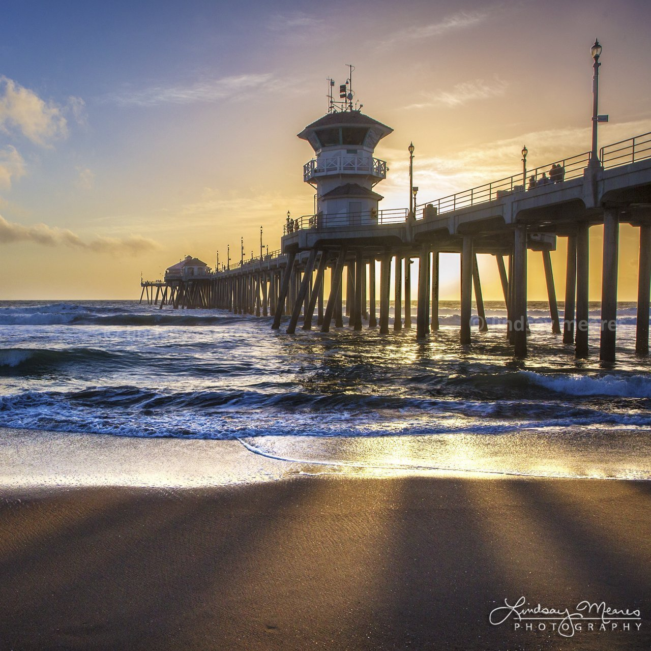 Amazon Com Sunbeam Pier By Travlin Photography Huntington Beach Pier Square Photo Multiple Sizes 5x5 To 24x24 Handmade