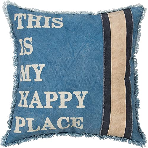 Primitives by Kathy Cotton My Happy Place Throw Pillow 18-Inch Square