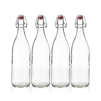 Seacoast - Botella de cristal transparente con tapón ...