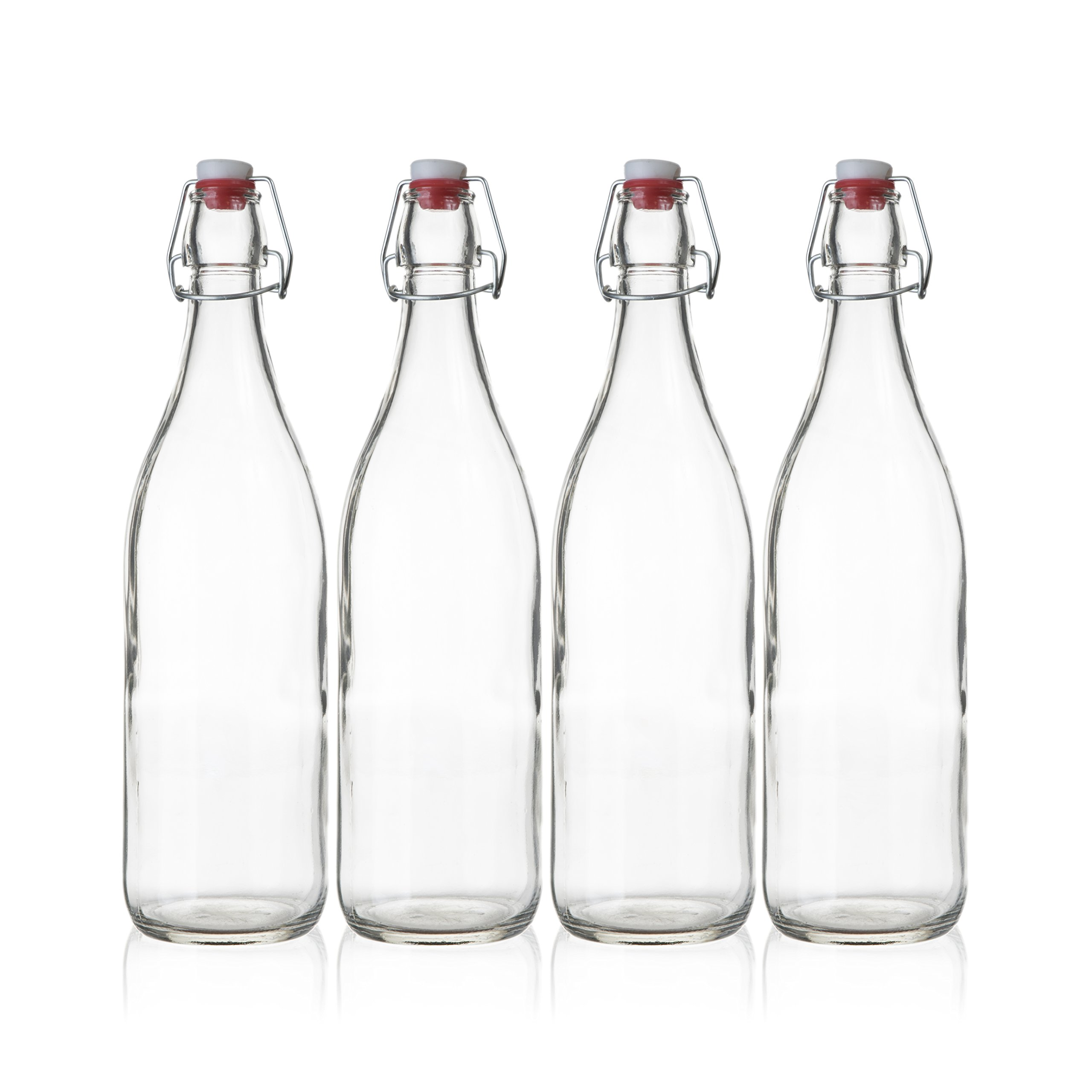 Seacoast Clear Glass Bottle with Swing Top Stopper, 33.75 Oz Round Pack of 4