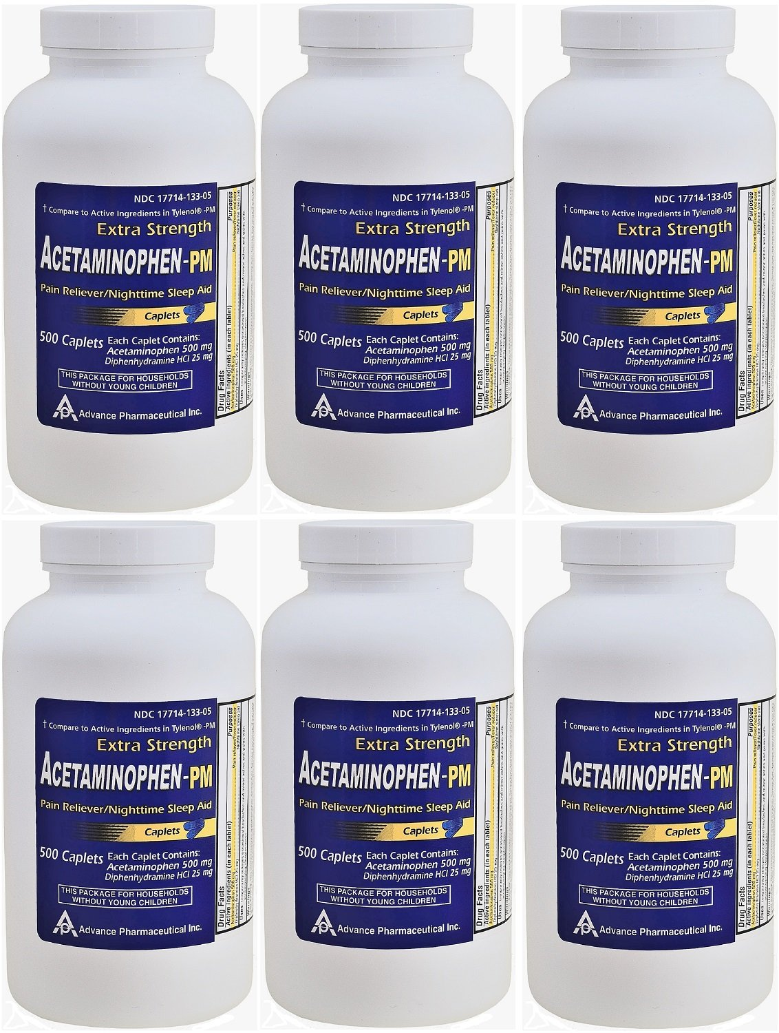 Acetaminophen PM 500 Caplets Generic for Tylenol PM Extra Strength Pain Reliever, Fever Reducer, Antihistamine & Nighttime Sleep Aid Acetaminophen 500 mg & Diphenhydramine 25 mg PACK of 6 by Advance Pharmaceutical