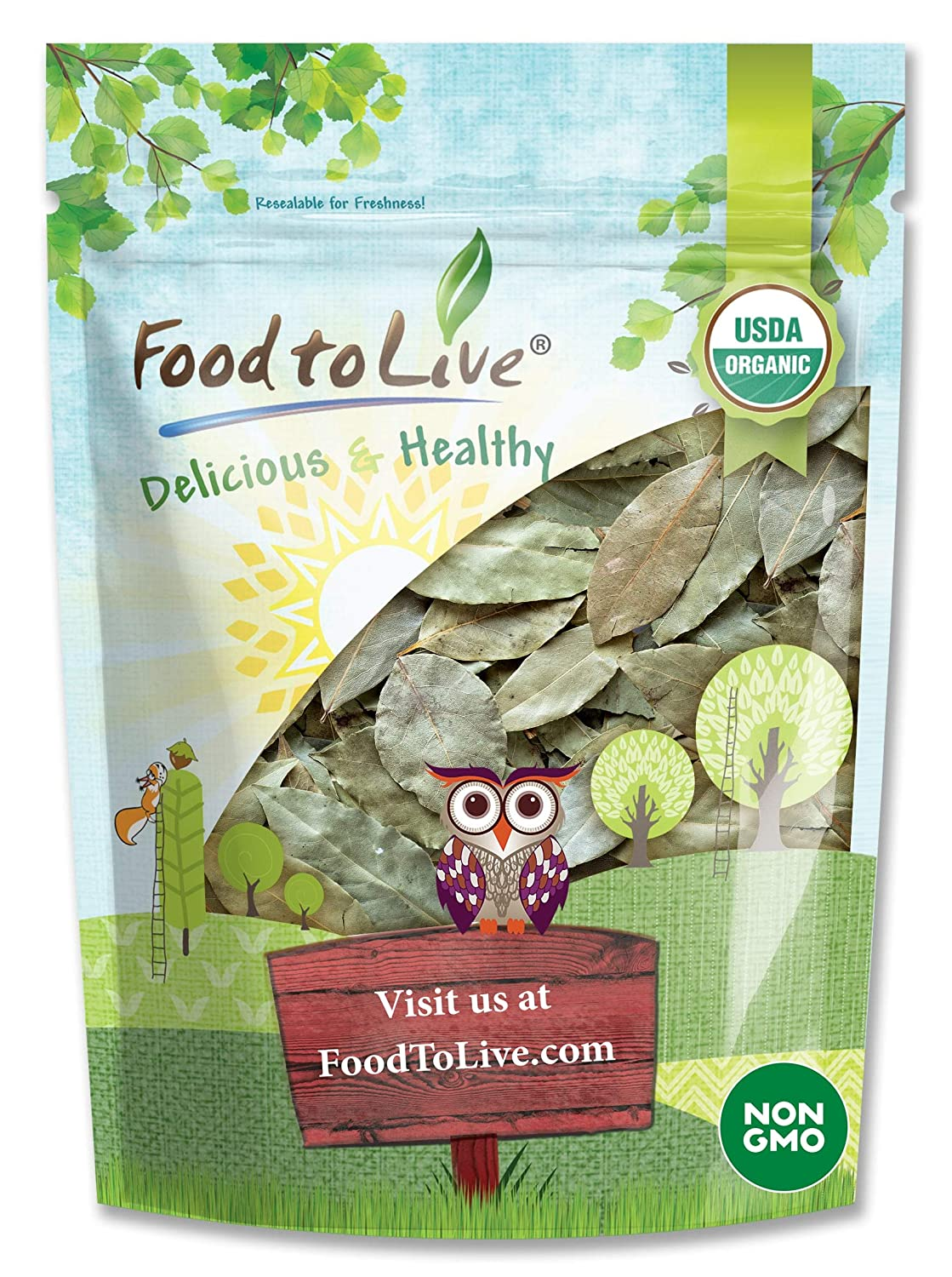 Organic Whole Bay Leaves, 2 Ounces - Non-GMO, Dried, Kosher, Vegan, Bulk, Great for Cooking, Spicing and Seasoning