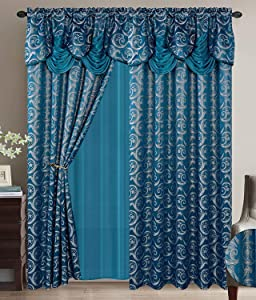 Smart Linen Jacquard 2 Piece Rod Pocket Window Panel Curtain Drape Set with Attached Valance and Sheer Backing for Living Dining and Bedroom (Turquoise, 55