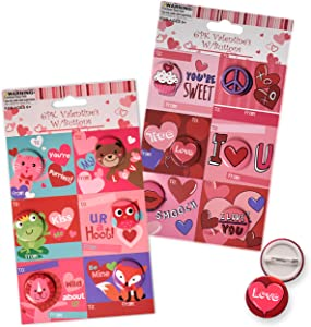Gift Boutique 36 Count Valentine Cards for Kids with Matching Pins in 12 Assorted Cute Designs Including Cat, Lion, Frog, Fox, Owl, Bear, Cupcake, Balloons, I Love You and More.
