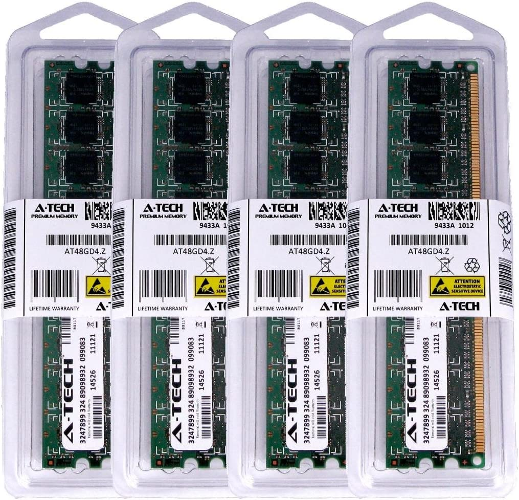 A-Tech 4GB KIT (4 x 1GB) for Dell Dimension 4700 5000 5100 5100C 5150 (DM051) 5150c 8400 9100 9150 9200 / 9200C C521 E510 / E510n E520 E521 DIMM DDR2 Non-ECC PC2-4200 533MHz RAM Memory Genuine