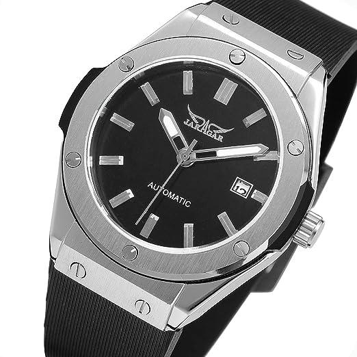 sweetbless reloj de pulsera Hombres de negro Dial día de carga automático banda de goma reloj: Amazon.es: Relojes