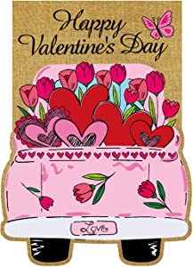 Texupday Happy Valentine's Day Double Sided Burlap Garden Flag Love Heart Floral Pink Truck Butterfly Decoration Outdoor Flag 12