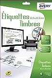 Avery 120 Etiquettes Autocollantes pour Timbres (24 par feuille) - 63,5x33,9mm - Blanc (J8159)