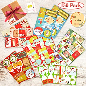 amazon com fly2sky 150 pack christmas gift tag stickers large