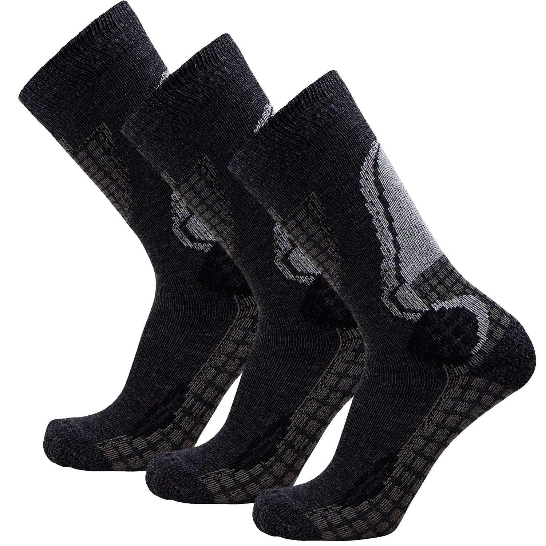 Junior High Performance Ski Socks - Children OTC Warm Snowboard, Skiing Socks Boys, Girls (S/M, Black/Grey, 3PK)