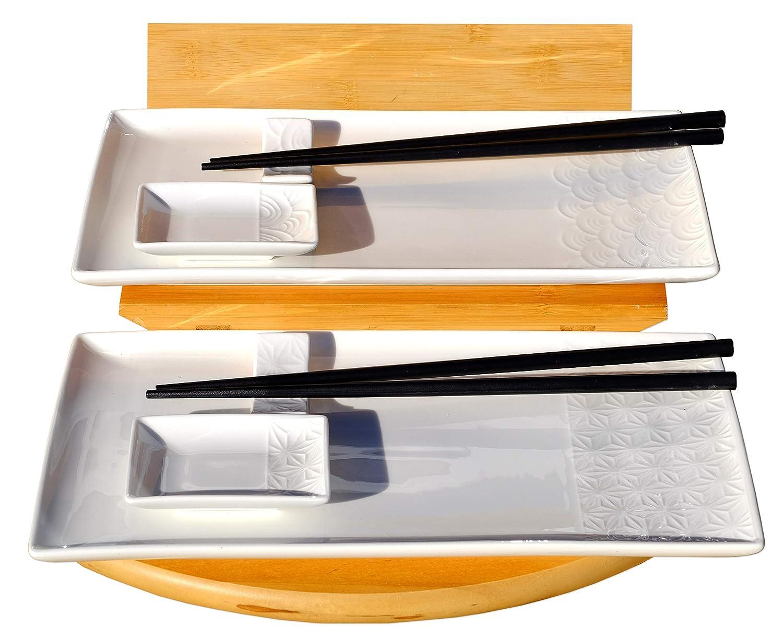 2 Ciotole per Salse Set di Piatti in Porcellana. TOKYO design studio 2 Piastre per Sushi Le Bleu de Nimes 2 Coppie di Bacchette in Legno Sushi Set 6 Pezzi