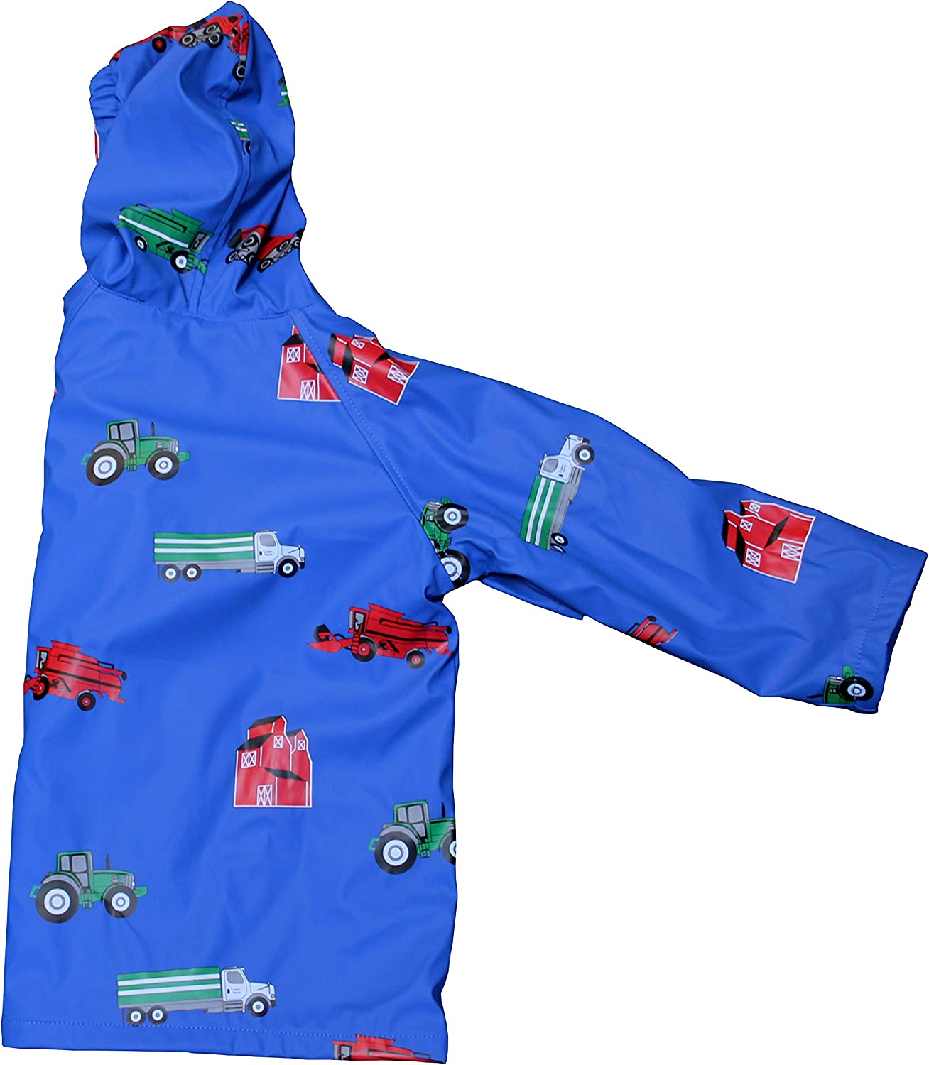 Foxfire Little Boys Blue Farm Equipment Print Hooded Raincoat 1T-6