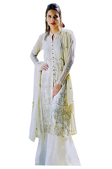 Buy Madeesh Pakistani Suit For Women Party Wear Georgette Full Embroidered Top Santoon Inner Santoon Bottom Embroidery Dupatta Semi Stitched Pakistani Style Designer Suits At Amazon In