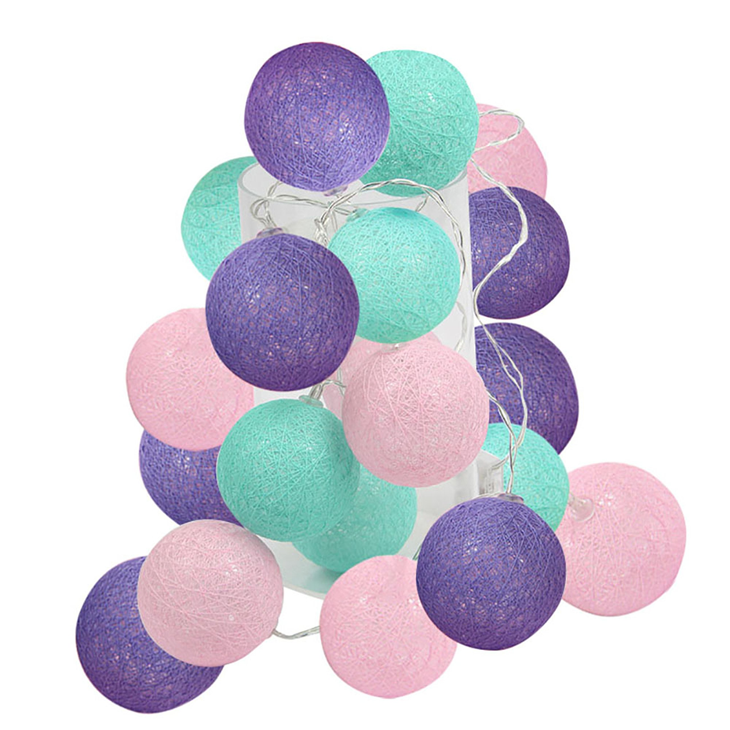 2.5m 20 LED Under The Sea Party Supplies/Mermaid Decor Mint Green Pink Purple Cotton Balls String Lights Battery Operated Christmas LED Garland Party Decorative Lamp for Wedding Baby Shower Decor
