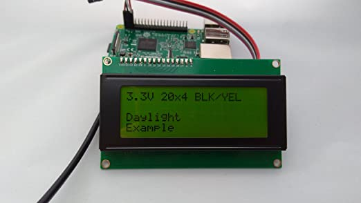 Amazon com: SPI I2C UART 20x4 LCD Black Text, Yellow Background
