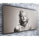 Canvas35 Marilyn Monroe Black and White Panoramic Art Print Picture Framed Xxl 55 inch x 24 inch Over 4.5 Wide x 2 Ft High Ready to Hang, Canvas, Multi-Colour,