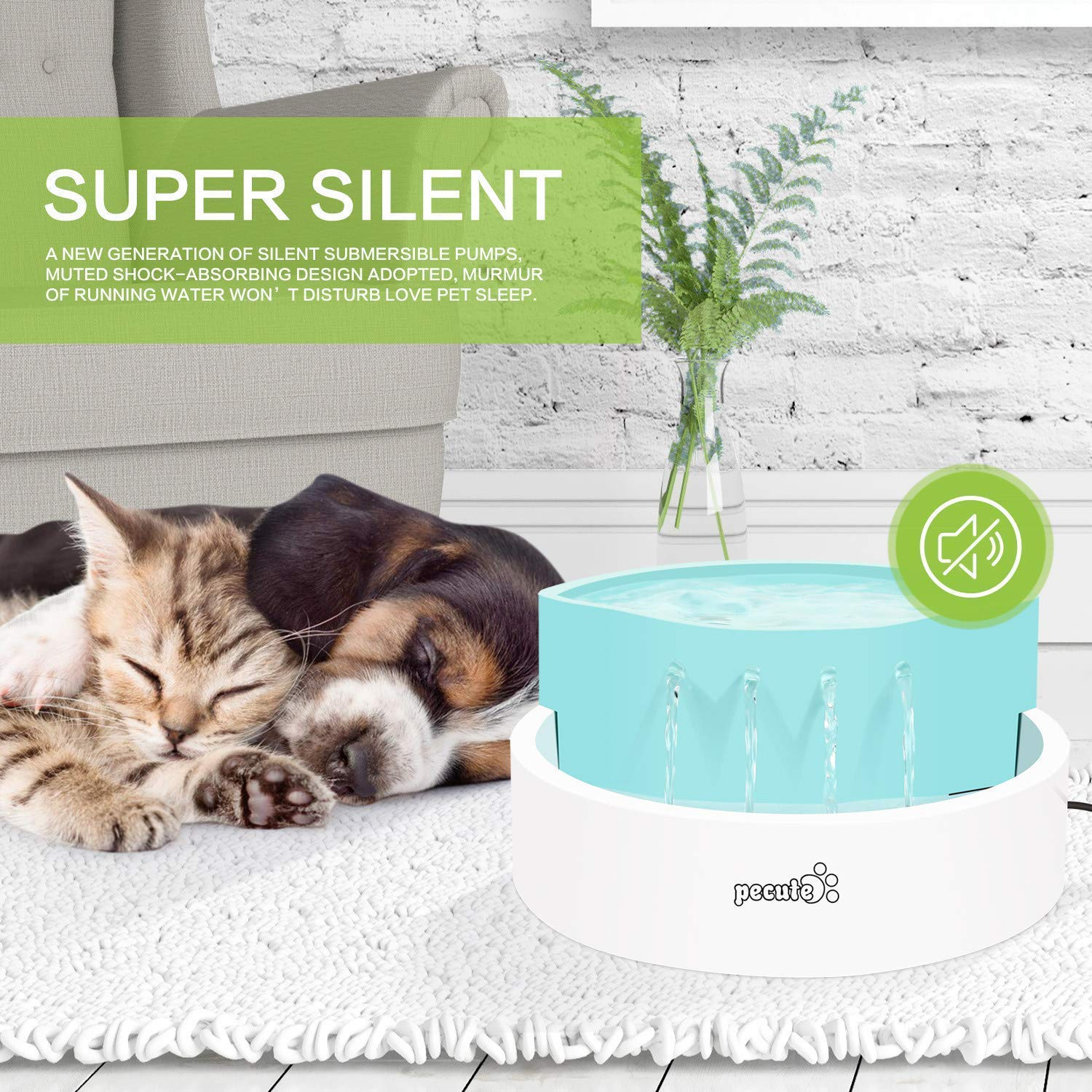 Pecute Pet Fountain Cat Water Fountain 45 dB Ultra-Quiet Automatic Circulation USB Electric Water Feeder 1.6L, Great for Cats, Small Dogs Drinking Indoor Outdoor Use