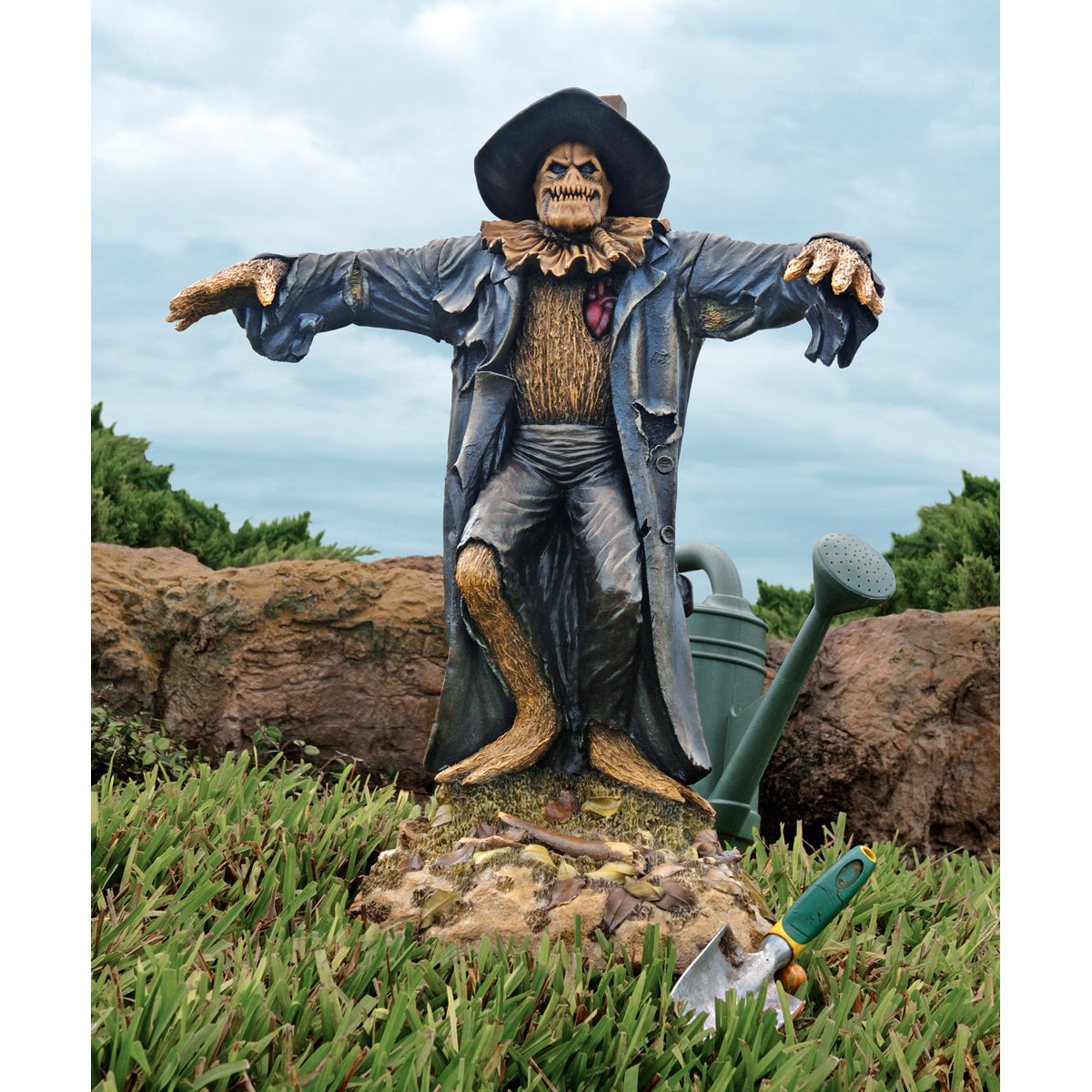 Design Toscano Harvest of Evil Zombie Scarecrow Garden Statue - Halloween Decoration