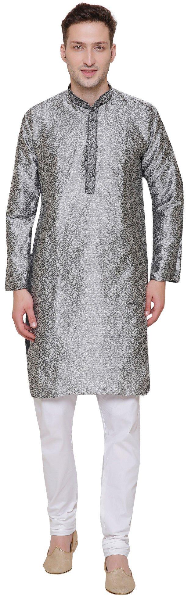 Jacquard Silk Embroidered Mens Kurta Pajama India Clothing (Grey, XL)