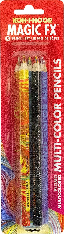 Koh-I-Noor Magic FX Pencils, 5-Pack - Original, Tropical, Neon, America and Fire (FA3405.5BC)