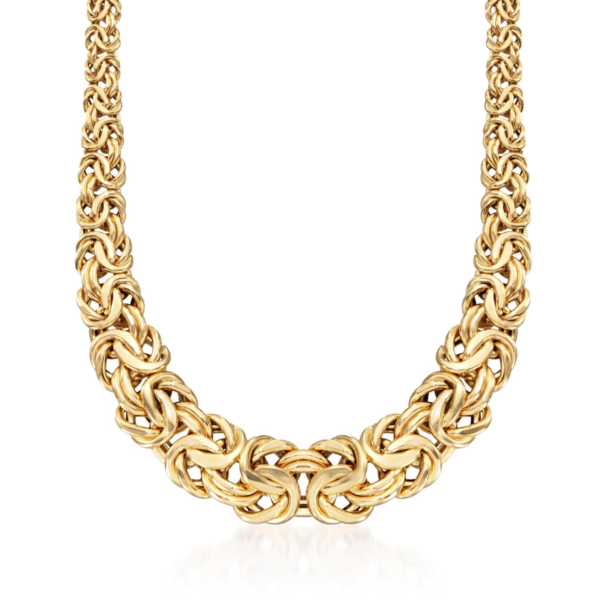 Ross-Simons Italian 18kt Yellow Gold Graduated Byzantine Necklace
