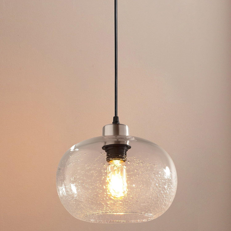 Casamotion Pendant Lighting Handblown Seeded Glass Drop Ceiling Lights, Rustic Globe Hanging Light, Clear, 1 Light