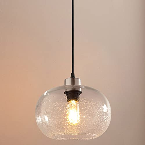 Casamotion Pendant Lighting Handblown Seeded Glass Drop Ceiling Light