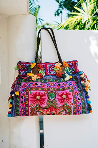 2fb8cb4c628b Changnoi Purple Floral Boho Large Beach Tote Bag for Women with ...