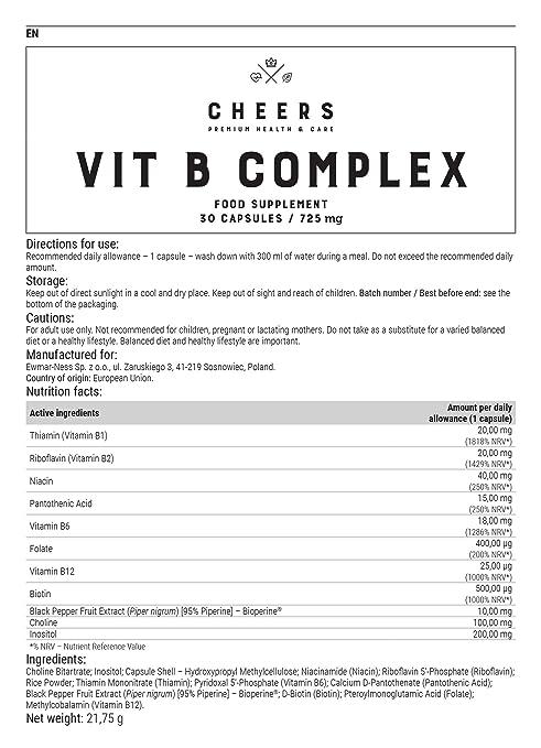 Complejo de vitamina B por Cheers - El set más completo de vitaminas del grupo B - Con bioperina para absorción rápida - No transgénico - 30 Cápsulas ...
