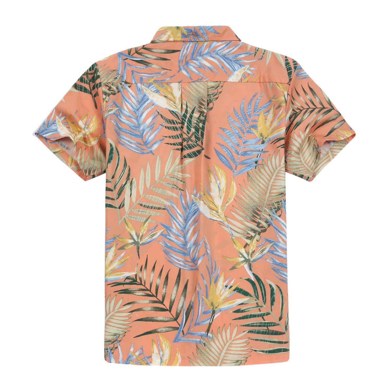 Couple Matching Hawaiian Luau Outfit Aloha Shirts in Sunset Blue