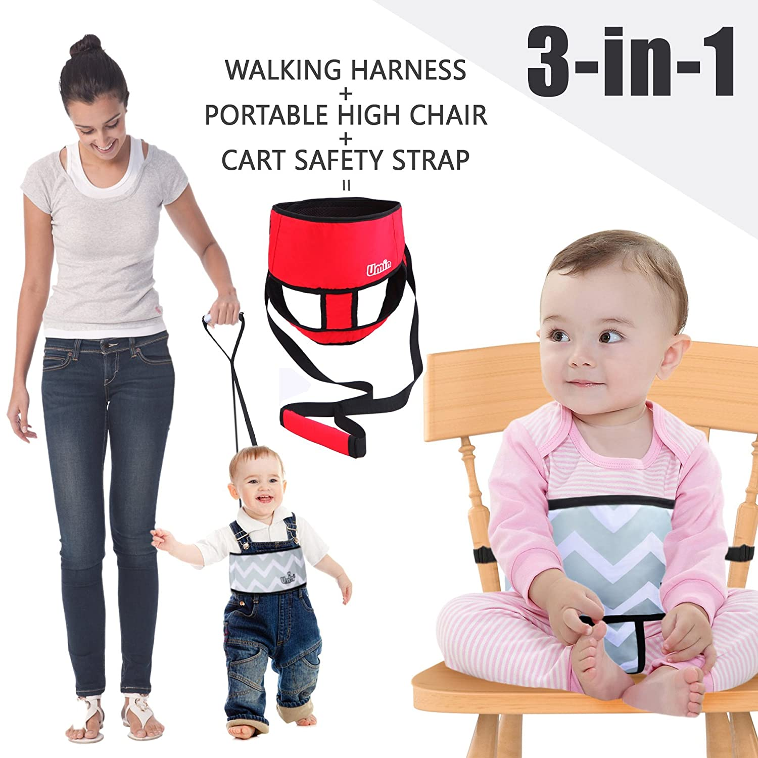 Umiin 3-in-1 Portable/Travel High Chair + Toddler Safety Walking Harness + Shopping Cart Safety Strap, Lightweight & Washable, Red