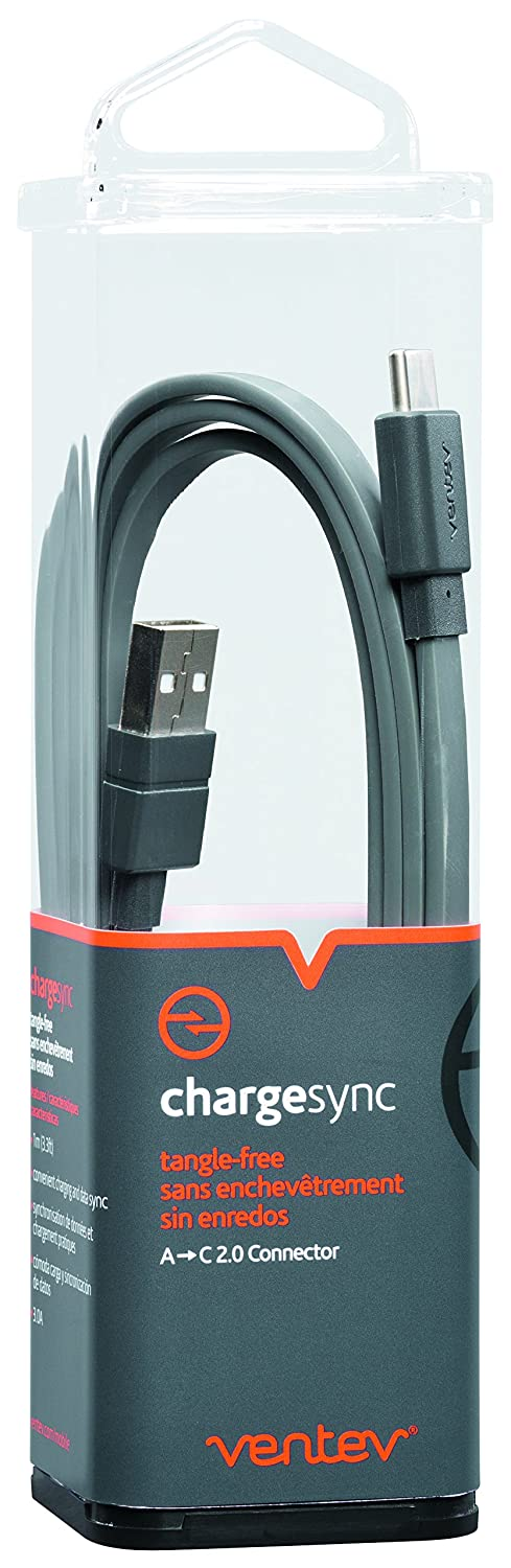 Ventev Chargesync USB-C Cable Type A-C Supports Rapid Rate Charging up to 3A 3.3ft Gray TESSCO Incorporated 522392 Designed to Support C Connector C Devices Tangle-Free Cable