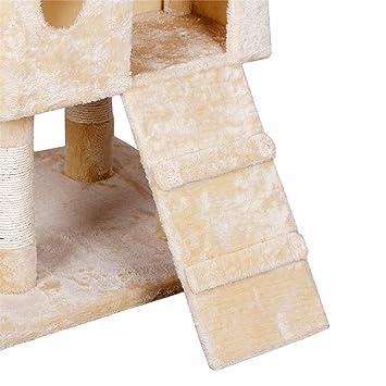 Songmics 183 cm Árbol para gatos Rascador con casetas escalerillas ratones de juego PCT53G: Amazon.es: Productos para mascotas