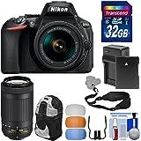 Nikon D5600 Digital SLR Camera with 18-55mm VR & 70-300mm DX AF-P Lenses with 32GB Card + Battery & Charger + Backpack Kit (Certified Refurbished)