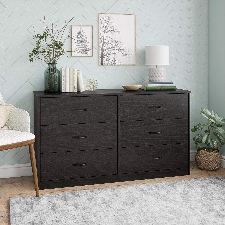 Mainstay Classic Dresser, .A Black Oak, 6-Drawer