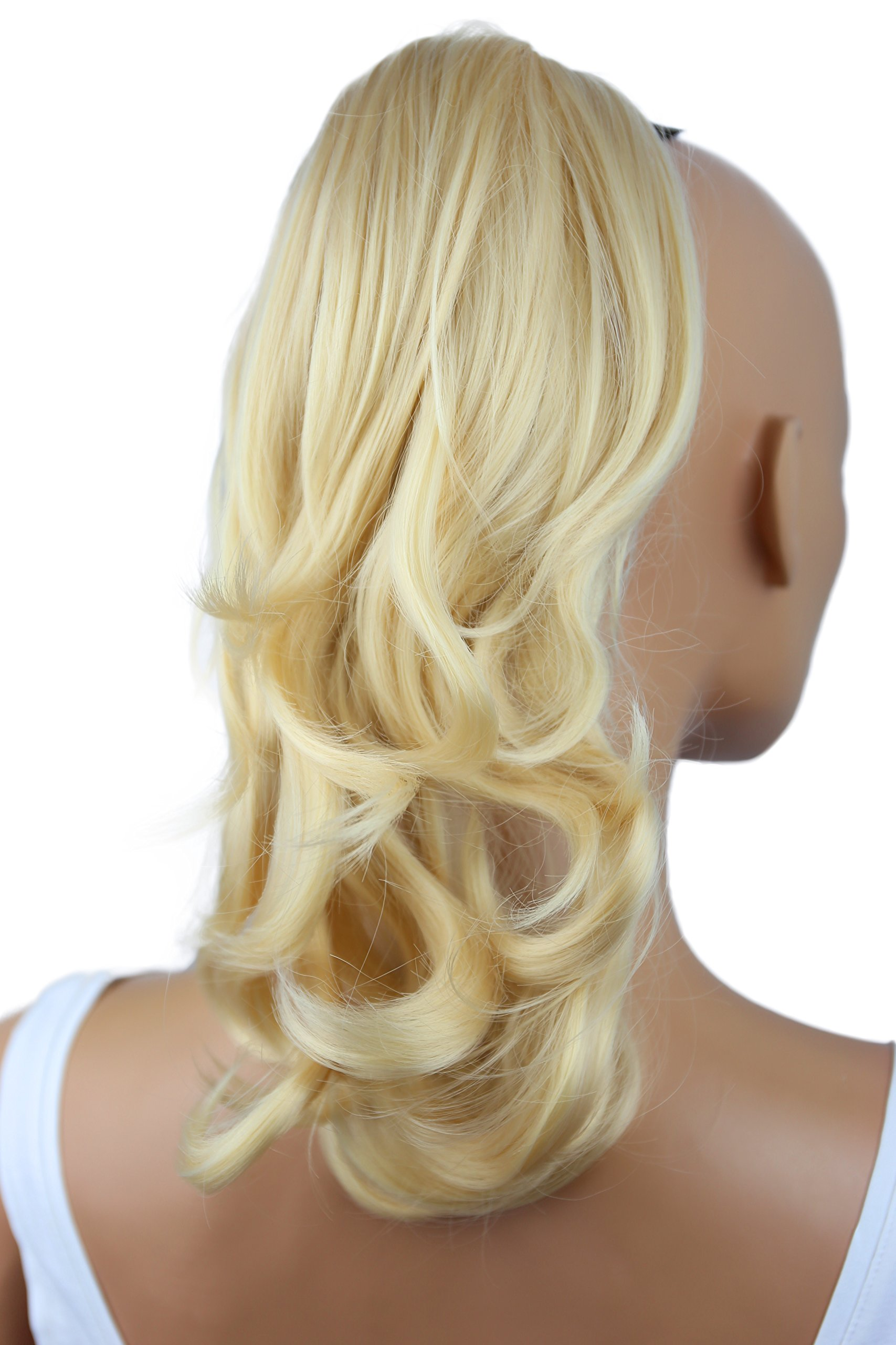 Amazon 18 Inches Bleach Blonde Long Wave Curly Claw Ponytails
