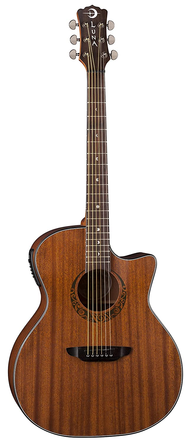 Luna GYP GRAND MAH Acoustic-Electric Guitar, Satin Natural
