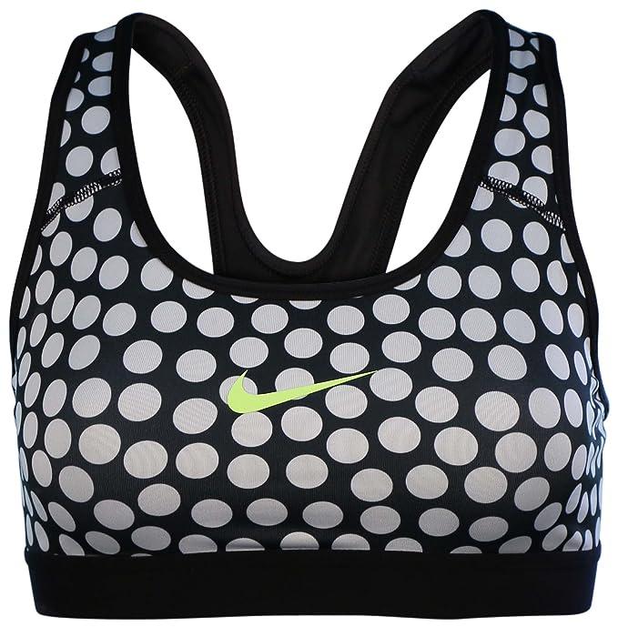 Nike Mujer Pro Sujetador Deportivo diseño de Lunares, Negro/Blanco ...