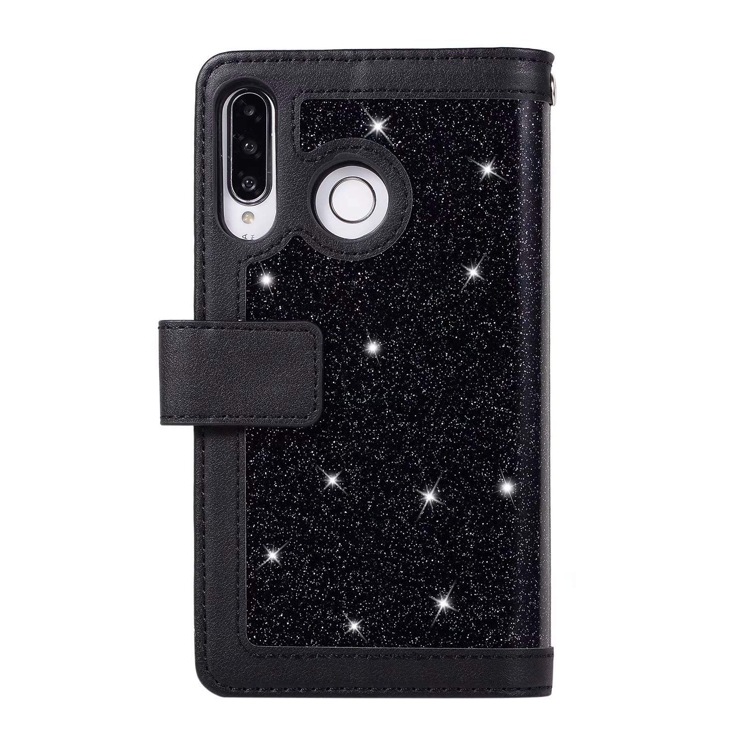 Homikon PU Leather Case Zipper Shiny Glitter Rhinestone Protective Case Wallet Leather Book Style Phone Case 9 Card Slots Compatible with Huawei P30 Lite Black