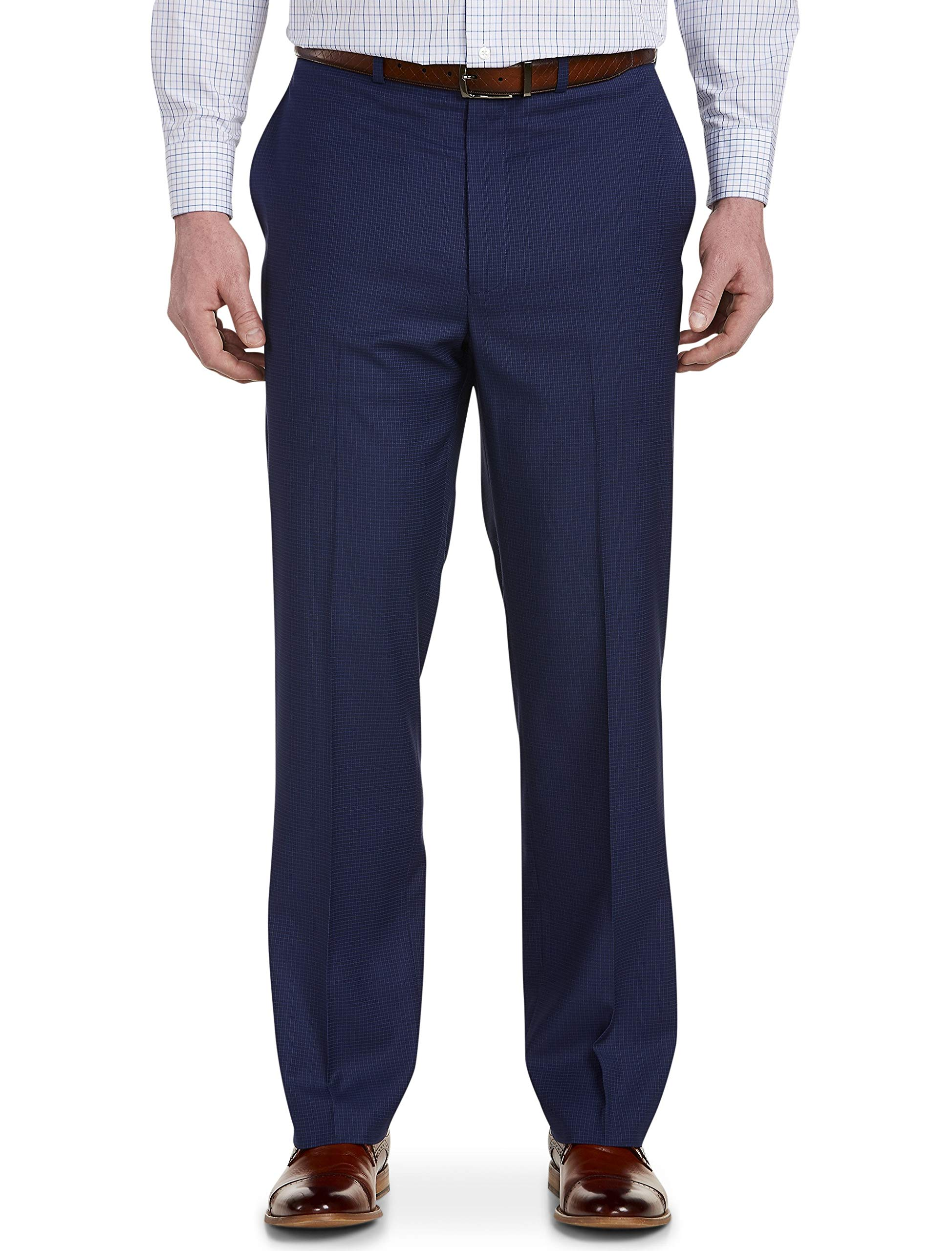 Geoffrey Beene Big and Tall Mini Check Flat-Front Suit Pants Blue by Geoffrey Beene