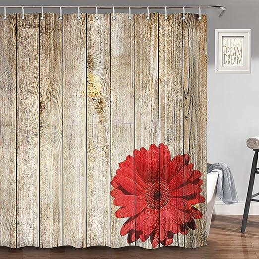 Dark Grey Shower Curtain Wood Fence Rustic Print for Bathroom