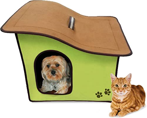 Penn-Plax Portable Soft Dog House for Smaller Dogs, Green