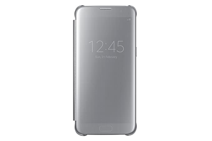 the latest 29be4 17fb3 Samsung Galaxy S7 Edge Case S-View Clear Flip Cover - Silver