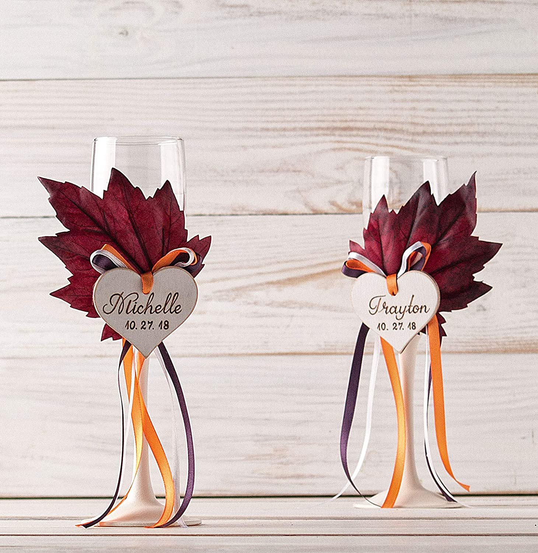 Amazon Com Fall Toasting Flutes Autumn Wedding Champagne