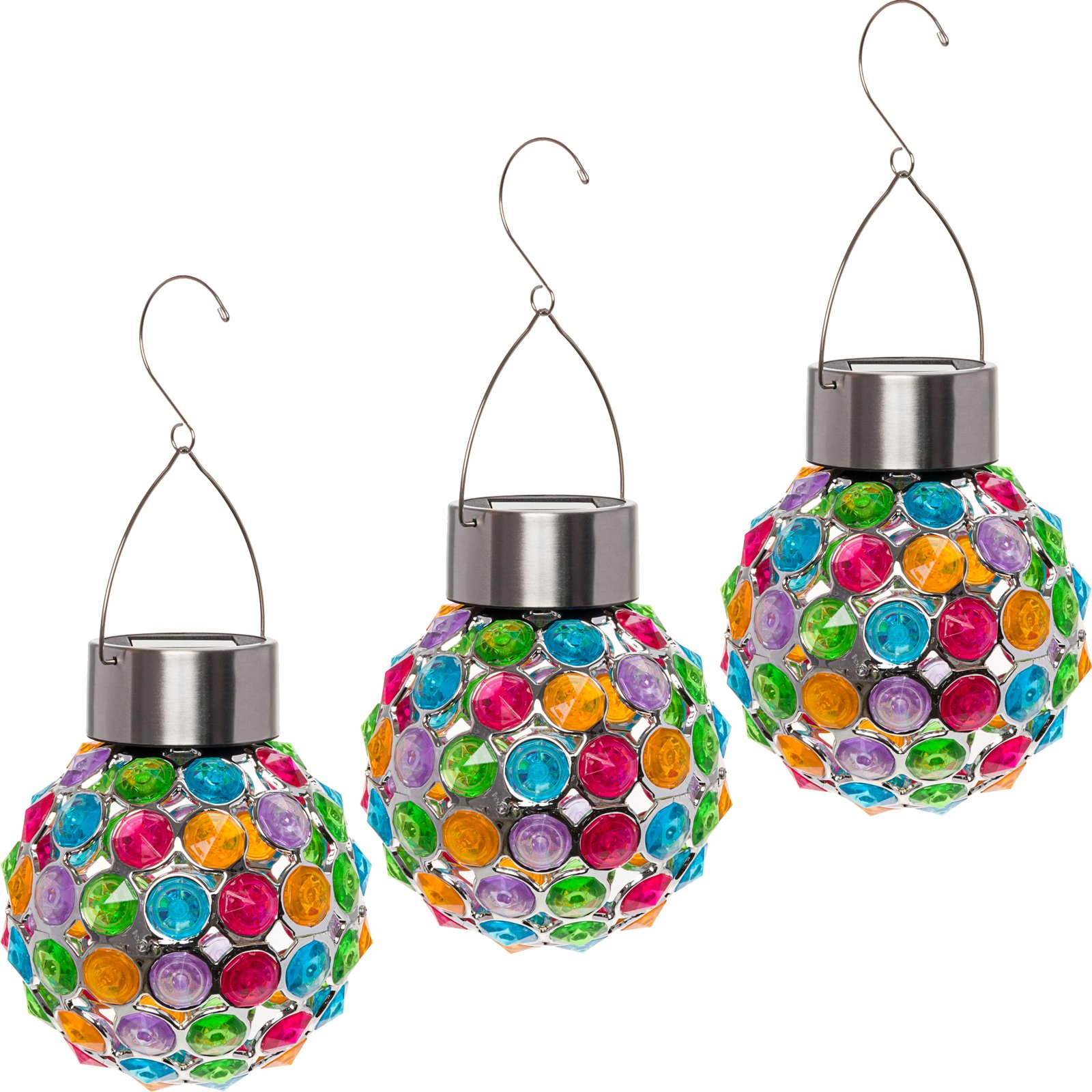 GreenLighting 3 Pack Outdoor Solar Hanging Lights - Decorative Ball Lantern For Patio, Garden By (Multi-color)