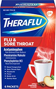 Theraflu Cold and Flu Medicine for Adults and Children 12+, Multisymptom Flu and Sore Throat Relief Powder Packets, Apple Cinnamon Flavor - 6 Count