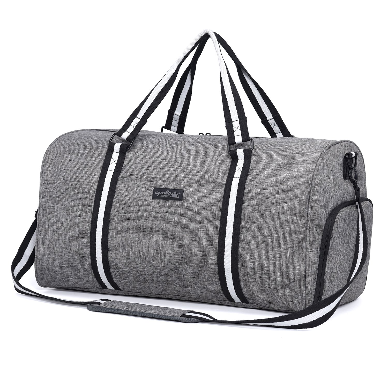 Apollowalker Water Resistant Sports Gym Travel Weekender Duffel Bag with Shoe Compartment Grey